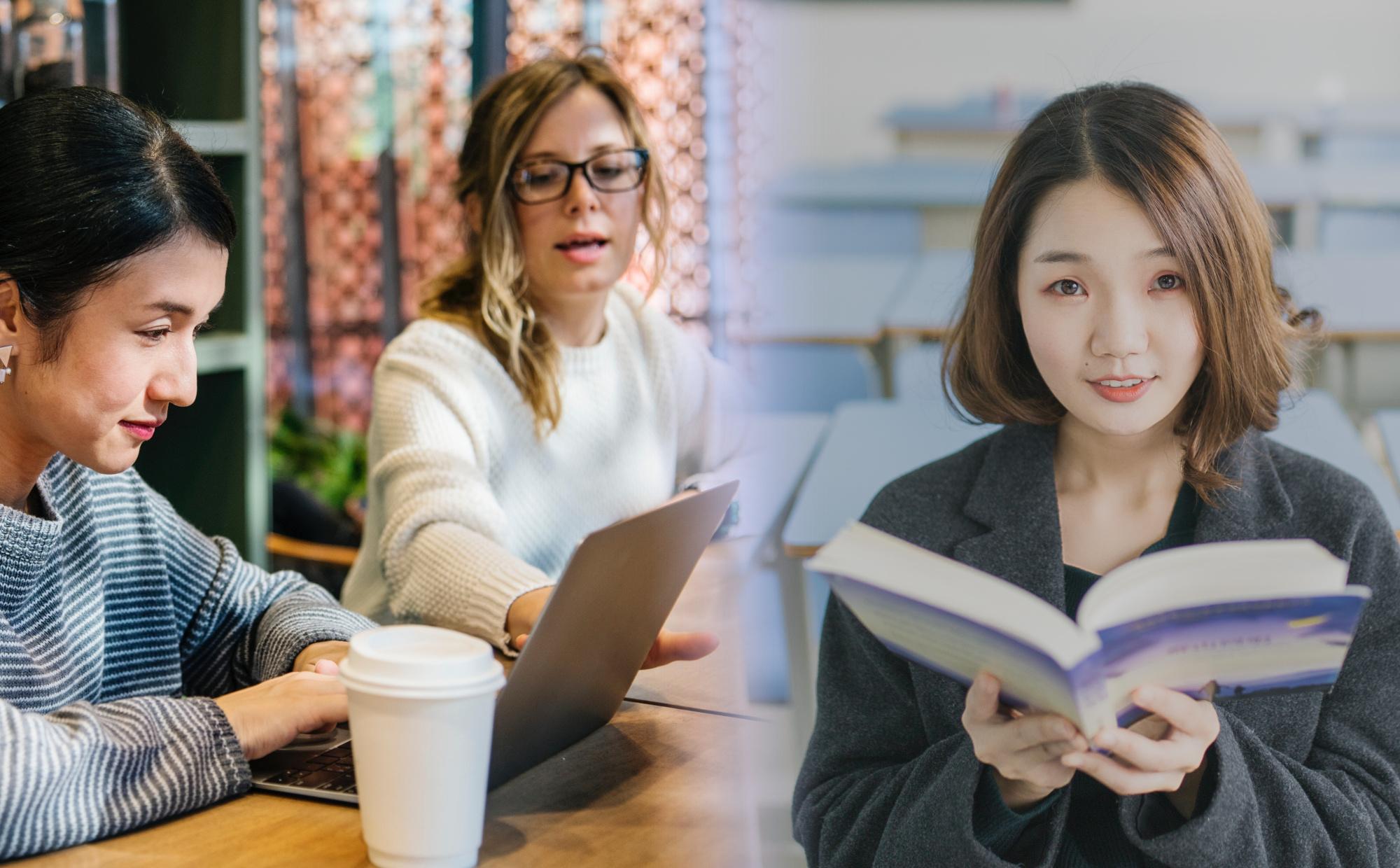 ネイティブ講師から英語を勉強する女性たち